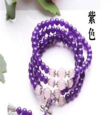 天然紫水晶手链108颗佛珠念珠手链多层饰品 周氏养生水晶