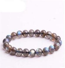 悅悅 頂級純天然拉長石灰藍月光石 7mm水晶手鏈 飾品女款 正品