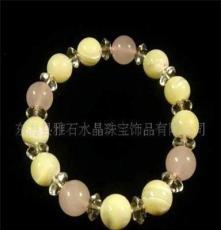 供應雅石水晶天然粉水晶加貝殼手鏈,時尚手鏈 手鏈混批