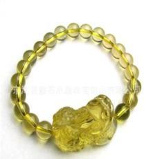 批發天然黃水晶貔貅手鏈男女款