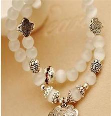 03017吉祥長命鎖天然貓眼石水晶韓版時尚飾品多層手串手鏈7種色