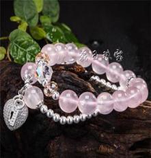 原創特價批發 天然水晶手鏈 粉晶 925純銀配件 女士女款手鏈