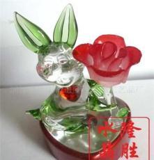 水晶動物 水晶小擺件 水晶工藝品 兔子 水晶小白兔 可定制批發