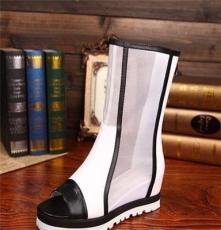 女鞋网面鱼嘴凉靴真皮平底女凉鞋高帮靴子罗马网靴 一件代发 代理