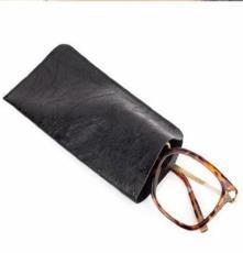 复古皮眼镜袋 眼镜套 黑色皮墨镜袋 太阳镜袋 简洁型携带型镜袋