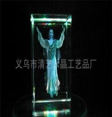 廠家直銷 水晶工藝品水晶內雕 耶穌像 基督教 發光內雕創意禮品