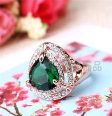 水晶鉆戒批發 三色飾品 外貿歐美戒指 潮流時尚