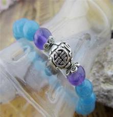天然海藍寶時尚手鏈 紫水晶手串廠家批發零售