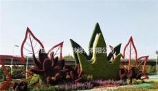红花配绿叶主题景观立体绿雕造型 四川成都绿雕厂家