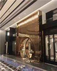 天津歌剧院中式屏风花格-大型不锈钢屏风定制-钛金镜面不锈钢屏风