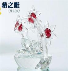 水晶花加天鵝擺件 水晶高檔禮品擺件 創意水晶情人節禮品