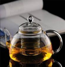 供应耐热玻璃茶壶 玻璃茶具 650ML玻璃花茶壶 手工吹制*