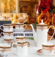 [萱雅]批發直供景德鎮高檔15頭骨瓷咖啡具 歐式茶具 咖啡杯碟套裝