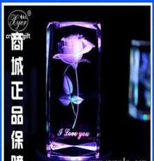 水晶精品玫瑰花 玫瑰花內雕工藝禮品 個性刻字玫瑰花禮物