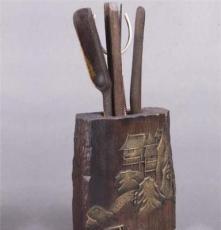 小額批發 廠家直銷黑檀木雙面浮雕鍍金茶道君子大展宏圖