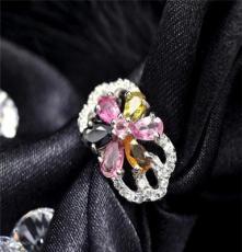 力臻珠寶 珠寶首飾批發 天然碧璽戒指-心鎖 女式復古銀鑲寶石