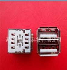 自產自銷USB A母座90度半包卷邊 雙層usb母座連接器環保鐵殼
