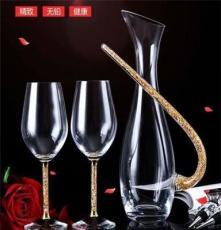 金箔水晶紅酒杯一壺兩杯 高腳杯 西餐廳用品 會銷禮品家用 洋酒杯
