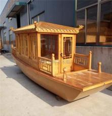 廠家定制 爆款單亭小畫舫  仿古木質 景區必備木船 動力玻璃鋼