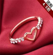 团购 艺达饰品 新款时尚简约精美心形合金镶钻戒指手饰批发