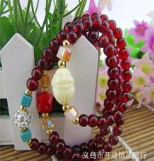 義烏原產地貨源 時尚韓版手鏈 廠家批發 白色佛頭滿鉆多圈手飾