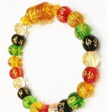 夢明工藝 精品五彩水晶符文單圈手鏈 全國熱銷義烏飾品 廠家直銷