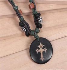 地中海风情 十字架图案牛骨项链 牛骨吊坠 串珠项链 项链批发项饰