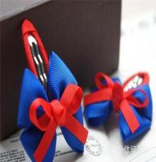 蝶語發飾工廠直銷 韓國兒童手工發飾飾品 撞色蝴蝶結BB夾