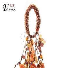 FANXI 梵茜純手工水晶串珠布藝花朵發飾多用途發圈 手鏈
