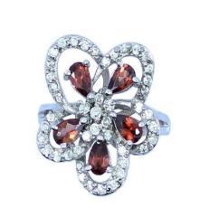 供应批发 厂家直销 925银镀白金天然石榴石戒指 天然水晶饰品