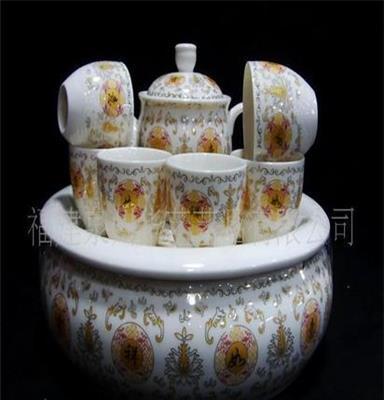 供应特色10寸盘8头吉祥如意茶具 如意茶具 德化陶瓷茶具 茶具