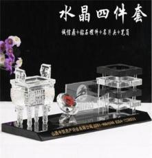 茂名水晶工藝品定做 水晶筆筒套件(圖)