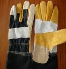 厂家生产牛皮制劳保手套 电焊手套 牛仔布家私反绒防护手套批发