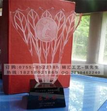 公司單位員工比賽水晶獎杯,羽毛球比賽獎杯定制