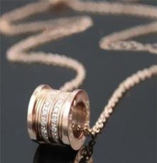 欧美经典 宝记项饰批发 小猪同款螺纹镶钻钛钢玫瑰金黄金项链