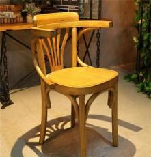 麦德嘉MDJ-ZTY11韩式实木椅子漫咖啡桌椅带扶手座椅 胡桃里家具