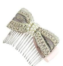 韩国进口发饰 头饰批发 轻盈美好蕾丝串珠插梳发梳