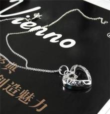心形吊坠 时尚礼品 明星饰品 项饰批发 钻石饰品 低价批发银饰品