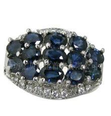 S925K金银镶宝石天然蓝宝石红宝石石榴石钻石