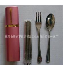 厂家直销便携不锈钢餐具 B-453盒装三件套 E-453 不锈钢套装餐具