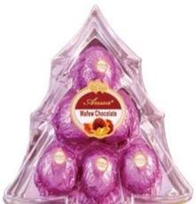 廠家生產批發6粒圣誕樹彩色巧克力禮品年貨喜慶糖果休閑零食品
