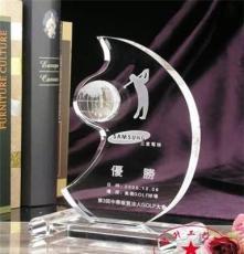 月亮形水晶獎牌定制 高爾夫球聯賽優勝獎杯 創意k9水晶獎杯