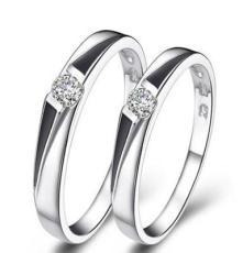 镀18K白金 微镶戒指 925 镶石系列首饰 流行饰品 二线戒指 韩版