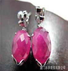 天然红宝石 璀璨红宝镶18K白金钻石耳坠 时尚大方贵气 耳环
