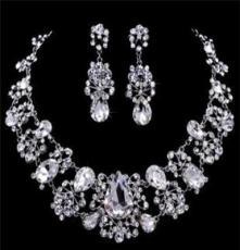 欧美新娘饰品 婚纱配饰合金大水晶项链耳环套装 批发 加工订做