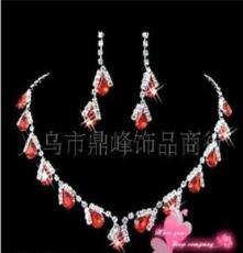 生产厂家 新娘婚庆饰品 项链耳环套装 婚纱水钻套链饰品批发