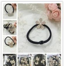 韩版合金镶珍珠、钻花盘皮筋 卡通造型 低价促销