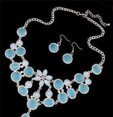 T023 歐美復古飾品 波西米亞 高檔寶石水滴花瓣短款項鏈 耳環套裝