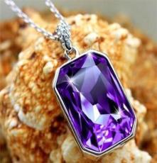 高贵紫宝石水晶锁骨项链 女款时尚欧美风复古夸张送礼首饰品批发