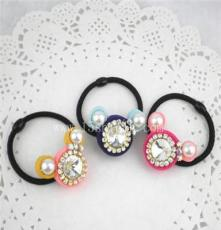 99 廠家直銷新款韓版發飾頭飾鑲鉆水晶可愛米奇發圈頭繩混批發